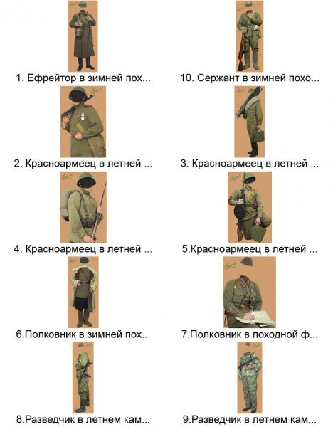Шаблоны костюмов (пехота, артиллерия)