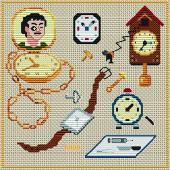 вышивка крестом схемы бесплатно Старинные часы.